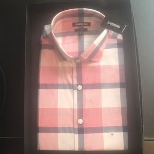 Pink Checkered LS Button Down Shirt - Brand New